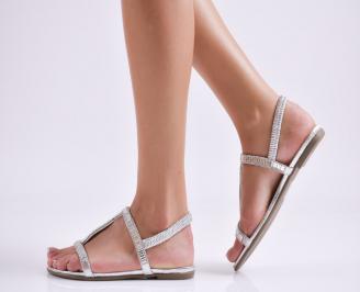 Дамски равни  сандали еко кожа сребристи
