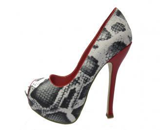 Дамски елегантни обувки еко кожа шарени
