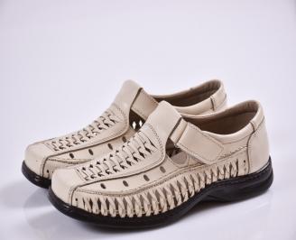 Мъжки спортно елегантни  обувки естествена кожа бежови