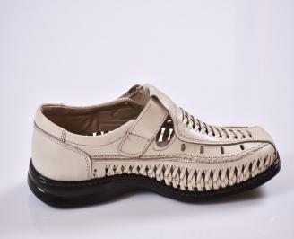 Мъжки спортно елегантни  обувки естествена кожа бежови 3