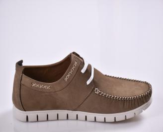 Мъжки спортно елегантни  обувки естествен набук кафяви 3