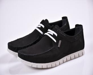 Мъжки спортно елегантни  обувки естествен набук черни