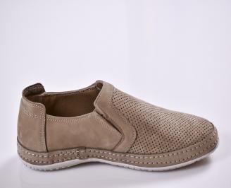 Мъжки спортно елегантни  обувки естествен набук бежови 3