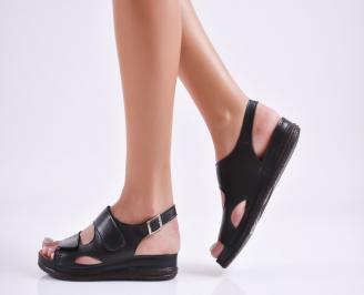 Дамски равни сандали Гигант  естествена кожа черни