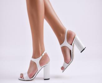 Дамски елегантни сандали еко кожа бели