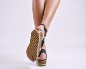 Дамски равни сандали  естествена кожа черни 3
