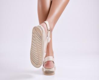 Дамски равни сандали Гигант  естествена кожа бежови