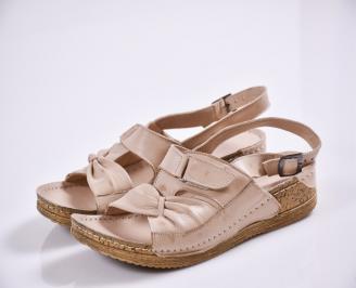Дамски равни сандали-Гигант  естествена кожа бежови
