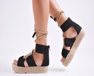 Дамски  сандали на платформа  набук черни