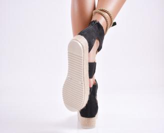 Дамски  сандали на платформа  набук черни 3