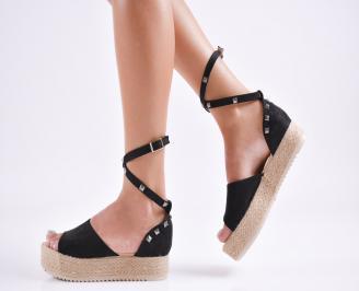 Дамски  равни сандали   набук черни