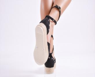 Дамски  равни сандали   набук черни 3