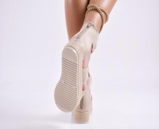 Дамски равни сандали  набук бежови 3