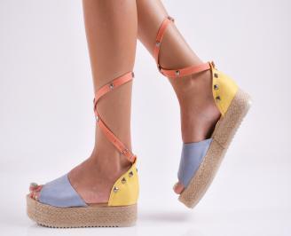 Дамски равни сандали  набук шарени