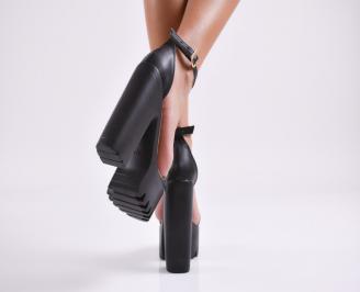 Дамски елегантни сандали еко кожа черни