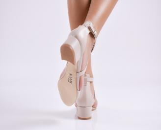 Дамски елегантни сандали еко кожа бежови 3