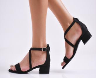Дамски елегантни сандали набук черни