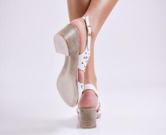 Дамски елегантни сандали еко кожа бели 3