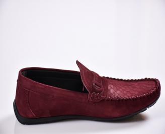 Мъжки спортно елегантни  обувки набук червени