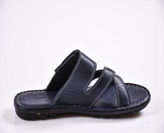 Мъжки чехли естествена кожа сини 3