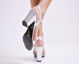 Дамски елегантни сандали еко кожа сребристи