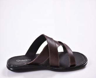Мъжки чехли естествена кожа кафяви 3