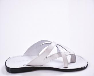 Мъжки чехли естествена кожа бели