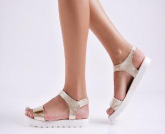 Дамски равни  сандали естествена кожа златисти
