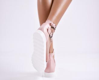 Дамски равни сандали  естествена кожа пудра 3