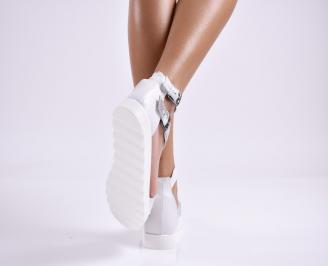 Дамски равни сандали  естествена кожа бели 3
