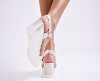 Дамски  сандали на платформа  естествена кожа златисти 3
