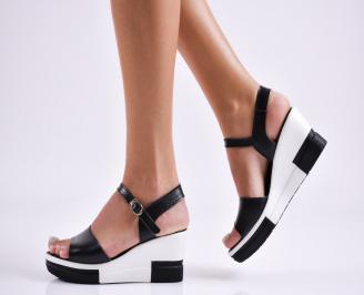 Дамски  сандали на платформа  естесвена кожа черни