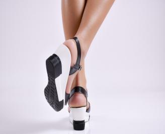 Дамски  сандали на платформа  естесвена кожа черни 3