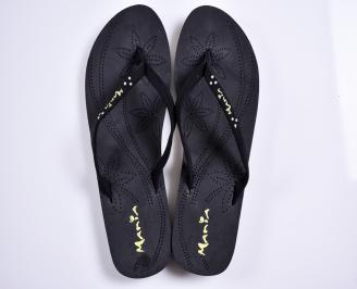 Дамски чехли текстил  черни