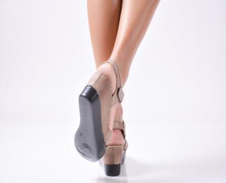 Дамски  сандали на платформа  естествена кожа кафяви 3