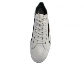Спортни мъжки обувки от естествена кожа бели 3