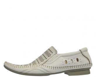 Мъжки обувки от естествена кожа официални бежови