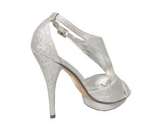 Дамски сандали еко кожа сребристи 3