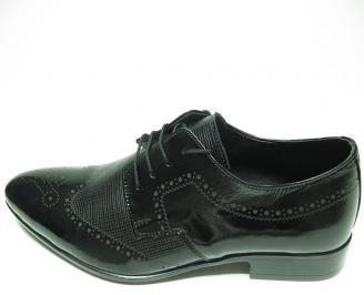Мъжки обувки официални естествена кожа/лак черни