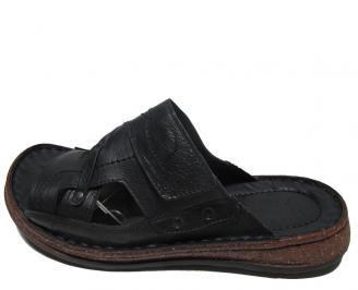 Мъжки чехли Гигант естествена кожа черни