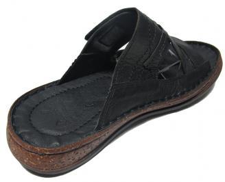 Мъжки чехли Гигант естествена кожа черни 3