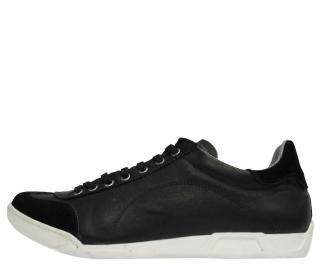 Спортни мъжки обувки от естествена кожа черни