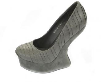 Дамски обувки на платформа еко велур сиви