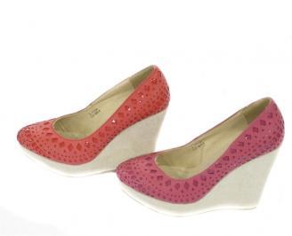 Дамска обувка на платформа  еко кожа червени 3