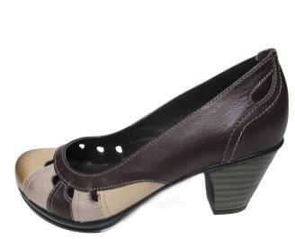 Дамски обувки от естествена кожа кафяви