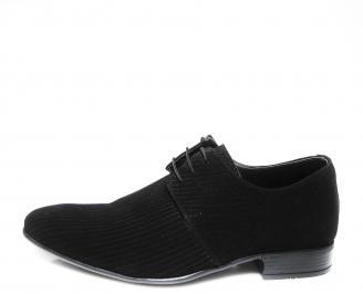 Мъжки официални обувки естествен велур черни
