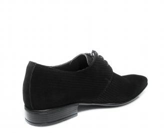 Мъжки официални обувки естествен велур черни 3