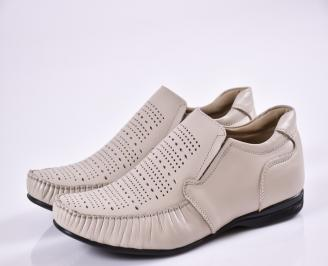 Мъжки обувки официални бежови естествена кожа