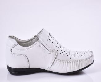 Мъжки обувки официални естествена кожа бели 3