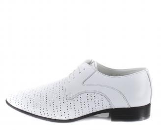 Мъжки официални обувки естествена кожа бели